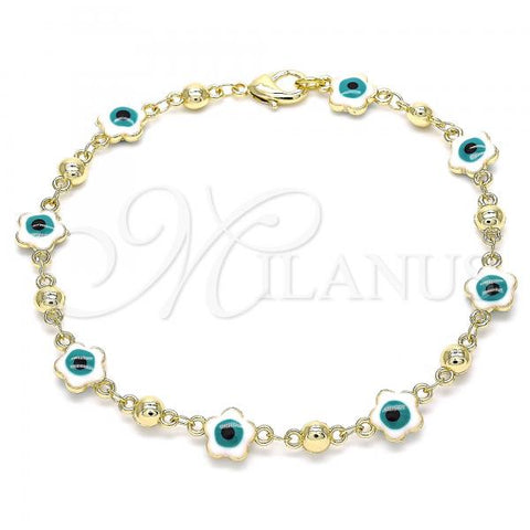 Gold Layered 03.213.0072.3.08 Fancy Bracelet, Greek Eye and Flower Design, White Enamel Finish, Golden Tone