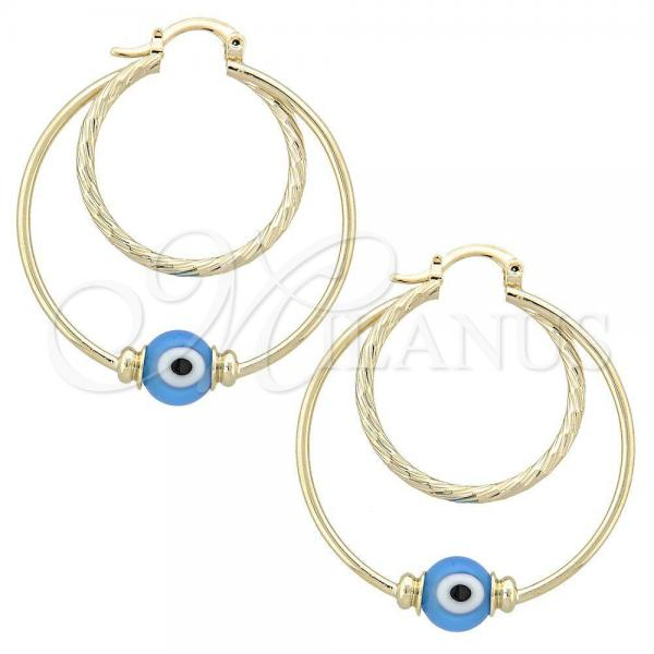Gold Layered Medium Hoop, Greek Eye Design, with Opal, Golden Tone