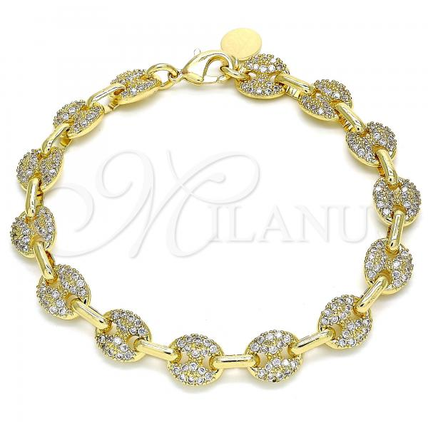 Gold Layered 04.63.1402.08 Fancy Bracelet, Puff Mariner Design, with White Micro Pave, Polished Finish, Golden Tone
