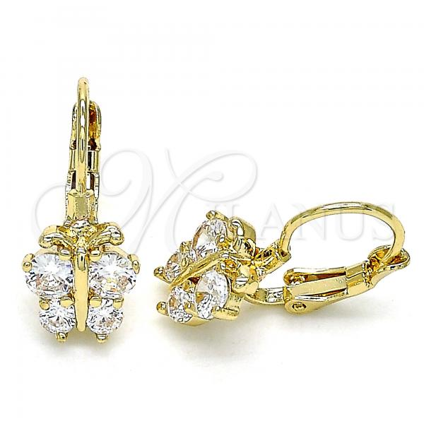 Gold Layered 02.210.0381 Leverback Earring, Butterfly Design, with White Cubic Zirconia, Polished Finish, Golden Tone