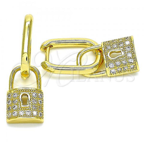 Gold Layered 02.341.0042 Dangle Earring, Lock Design, with White Micro Pave, Polished Finish, Golden Tone