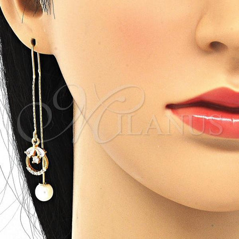 Gold Layered 02.357.0056.1 Threader Earring, Teardrop Design, with White Cubic Zirconia, Polished Finish, Golden Tone