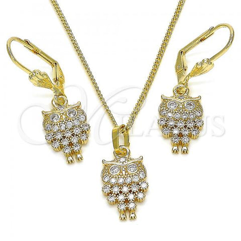 Gold Layered 10.210.0150 Earring and Pendant Adult Set, Owl Design, with White Micro Pave, Polished Finish, Golden Tone
