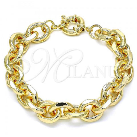 Gold Layered 03.319.0008.08 Basic Bracelet, Rolo Design, Polished Finish, Golden Tone
