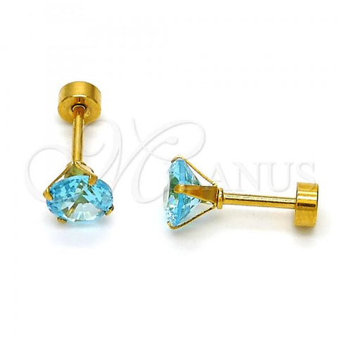 Stainless Steel Stud Earring, with Cubic Zirconia, Golden Tone
