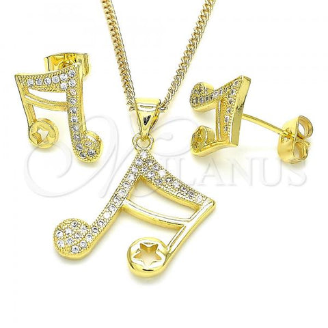Gold Layered 10.199.0117 Earring and Pendant Adult Set, Music Note and Star Design, with White Micro Pave, Polished Finish, Golden Tone