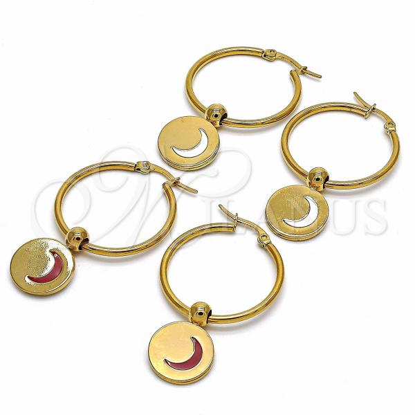 Stainless Steel Medium Hoop, Moon Design, Golden Tone
