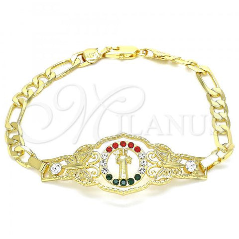 Gold Layered 03.253.0045.08 Fancy Bracelet, San Benito and Butterfly Design, with Multicolor Crystal, Polished Finish, Golden Tone