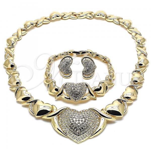 Gold Layered 06.372.0004 Necklace, Bracelet and Earring, Polished Finish, Golden Tone Heart and Hugs and Kisses Design, with White Crystal, Polished Finish, Golden Tone