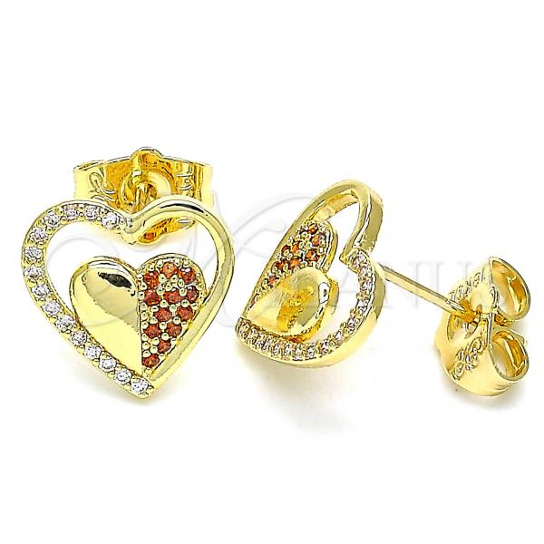 Gold Layered 02.156.0501.1 Stud Earring, Heart Design, with Garnet and White Micro Pave, Polished Finish, Golden Tone