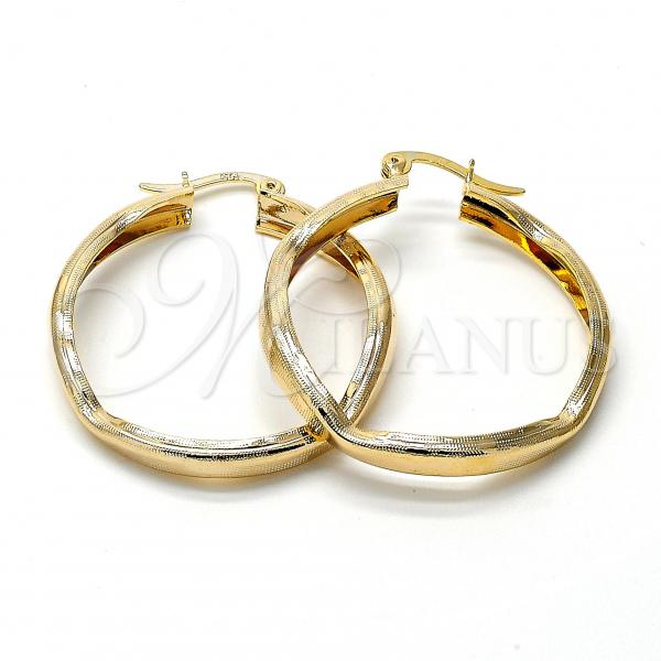 Gold Layered 5.142.017 Medium Hoop, Heart Design, Diamond Cutting Finish, Golden Tone