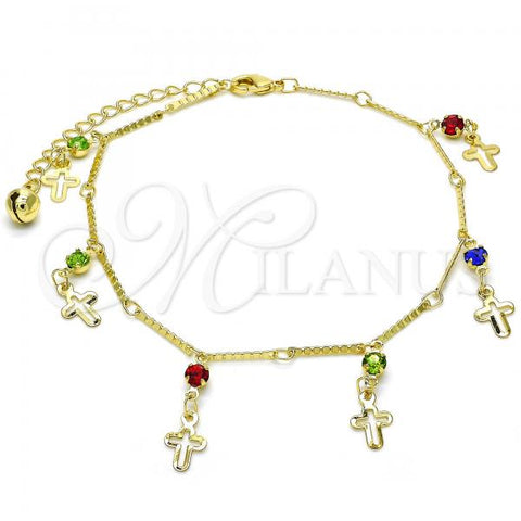 Gold Layered 03.213.0076.10 Charm Anklet , Cross and Rattle Charm Design, with Multicolor Cubic Zirconia, Polished Finish, Golden Tone