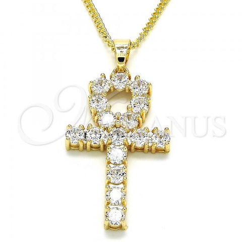 Gold Layered 04.210.0027.22 Fancy Necklace, Cross Design, with White Cubic Zirconia, Polished Finish, Golden Tone