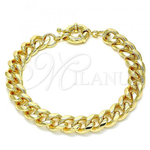 Gold Layered 03.319.0011.08 Basic Bracelet, Miami Cuban Design, Polished Finish, Golden Tone