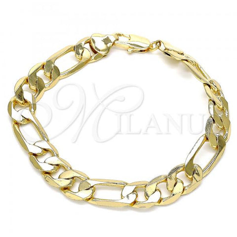Gold Layered 03.213.0095.08 Basic Bracelet, Figaro Design, Polished Finish, Golden Tone