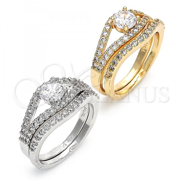 Gold Layered Wedding Ring, Duo Design, with Cubic Zirconia, Rhodium Tone