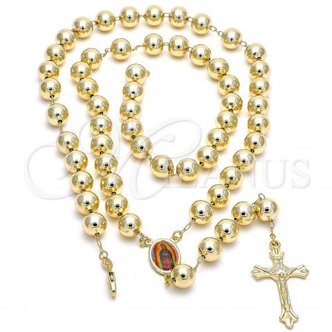 Gold Layered Large Rosary, Guadalupe and Crucifix Design, Golden Tone