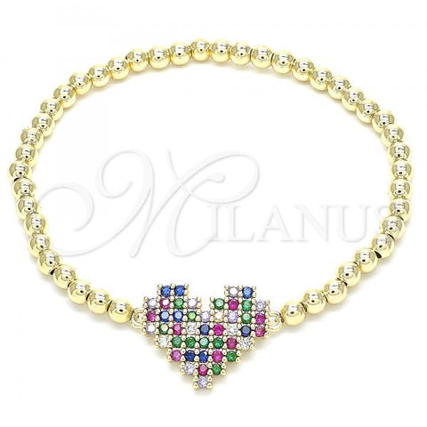Gold Layered 03.299.0030.07 Fancy Bracelet, Heart Design, with Multicolor Cubic Zirconia, Polished Finish, Golden Tone