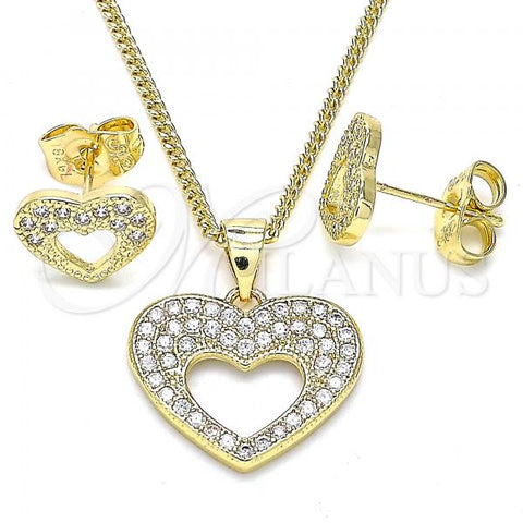 Gold Layered 10.156.0317 Earring and Pendant Adult Set, Heart Design, with White Micro Pave, Polished Finish, Golden Tone