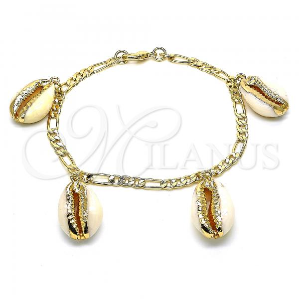 Gold Layered 03.63.2077.08 Charm Bracelet, Polished Finish, Golden Tone