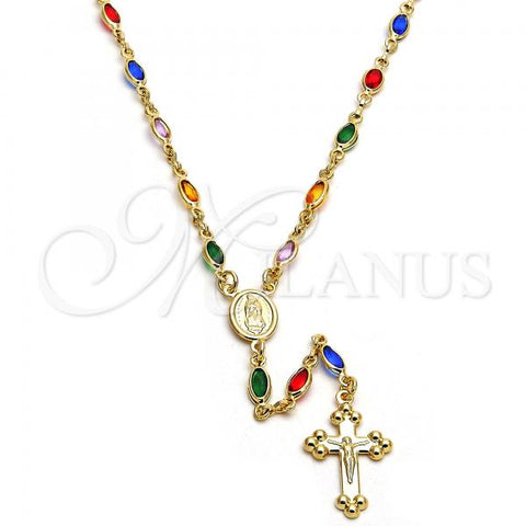 Gold Layered 09.63.0102.18 Thin Rosary, Guadalupe and Crucifix Design, with Multicolor Cubic Zirconia, Polished Finish, Golden Tone