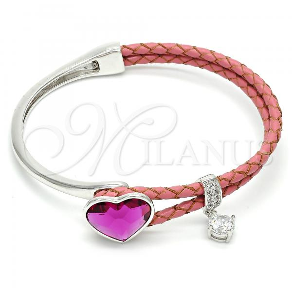 Rhodium Plated Individual Bangle, Heart Design, with Swarovski Crystals and Micro Pave, Rhodium Tone