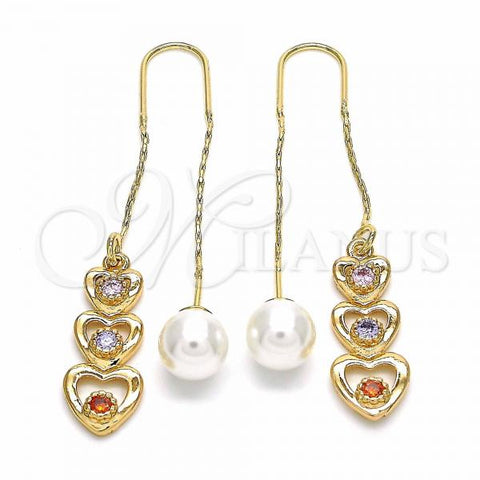 Gold Layered 02.323.0086 Threader Earring, Heart Design, with Multicolor Cubic Zirconia, Polished Finish, Golden Tone
