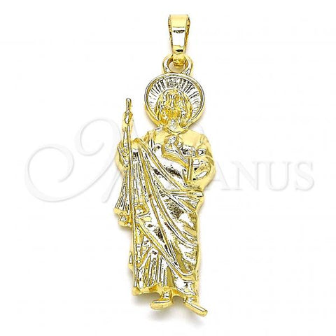 Gold Layered 05.213.0064 Religious Pendant, San Judas Design, Polished Finish, Golden Tone