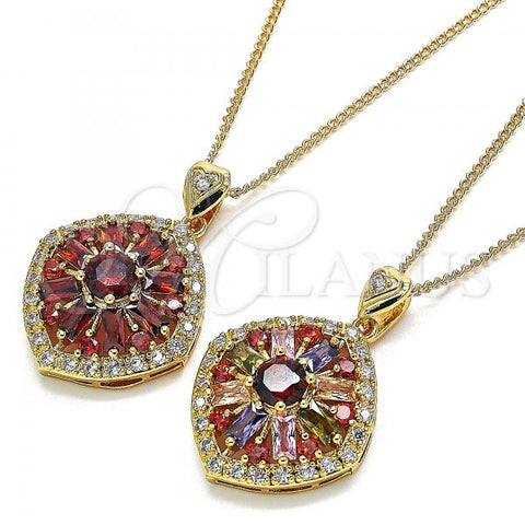 Gold Layered Pendant Necklace, with Cubic Zirconia and Micro Pave, Golden Tone
