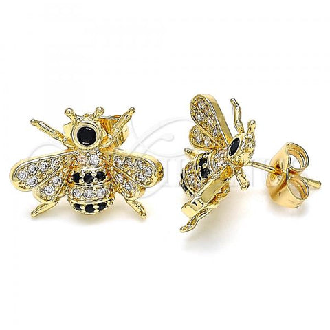 Gold Layered 02.210.0412.2 Stud Earring, Bee Design, with Black and White Micro Pave, Polished Finish, Golden Tone