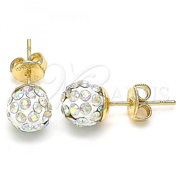 Gold Layered 02.63.2707.3 Stud Earring, with Aurore Boreale Crystal, Polished Finish, Golden Tone