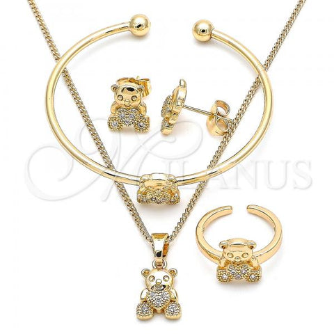 Gold Layered 06.210.0021 Earring and Pendant Children Set, Teddy Bear and Heart Design, with White Micro Pave, Polished Finish, Golden Tone