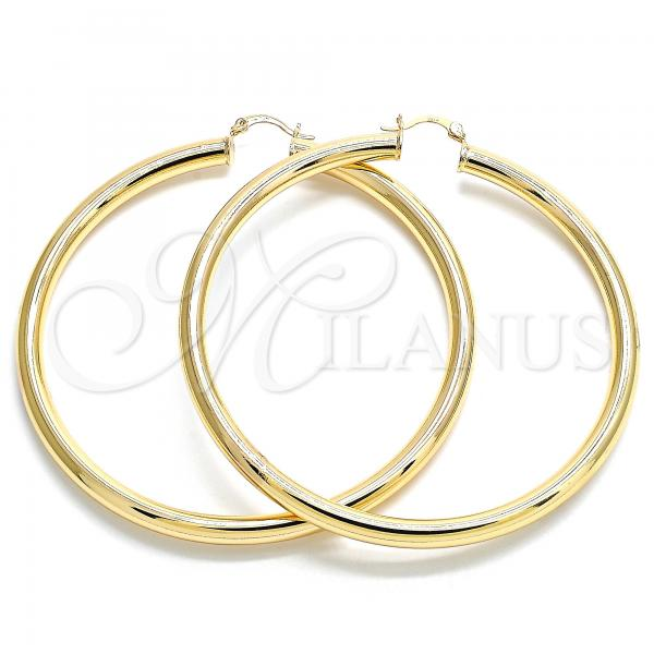 Gold Layered 02.170.0314.80 Extra Large Hoop, Hollow Design, Polished Finish, Golden Tone