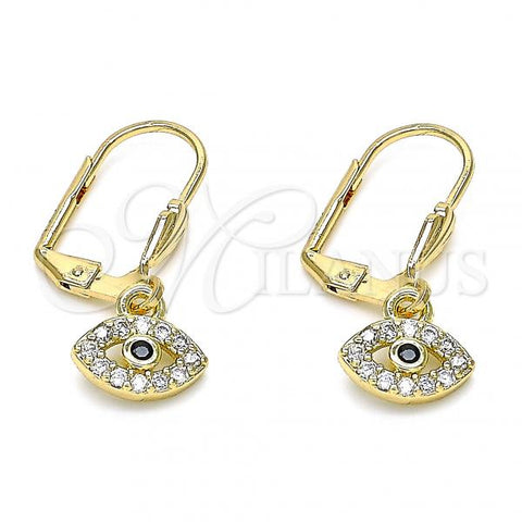 Gold Layered 02.210.0343 Dangle Earring, with White and Black Micro Pave, Polished Finish, Golden Tone