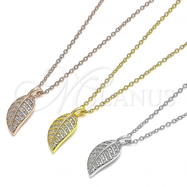 Sterling Silver Pendant Necklace, Leaf Design, with Cubic Zirconia, Rhodium Tone
