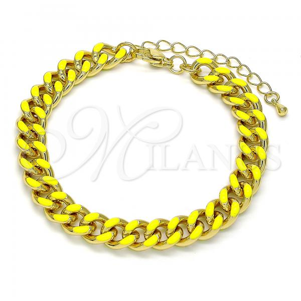 Gold Layered 03.341.0075.3.07 Basic Bracelet, Miami Cuban Design, Yellow Enamel Finish, Golden Tone