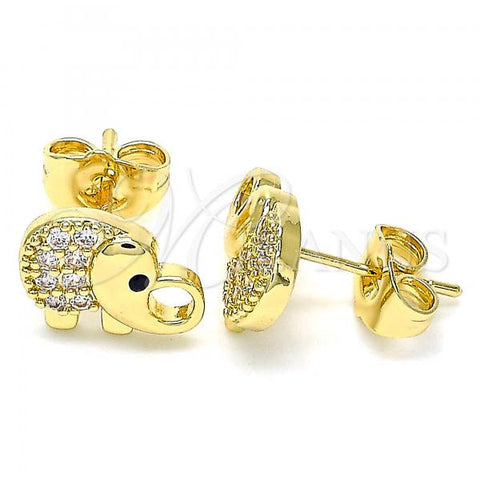 Gold Layered 02.210.0411 Stud Earring, Elephant Design, with White and Black Micro Pave, Polished Finish, Golden Tone