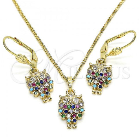 Gold Layered 10.210.0150.1 Earring and Pendant Adult Set, Owl Design, with Multicolor Micro Pave, Polished Finish, Golden Tone