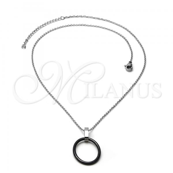 Stainless Steel 04.113.0029.18 Fancy Necklace, Black Resin Finish, Steel Tone