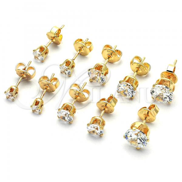 Gold Layered Stud Earring, with Cubic Zirconia, Golden Tone