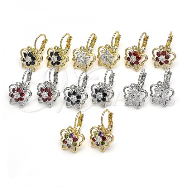 Gold Layered Leverback Earring, Butterfly and Flower Design, with Cubic Zirconia, Golden Tone