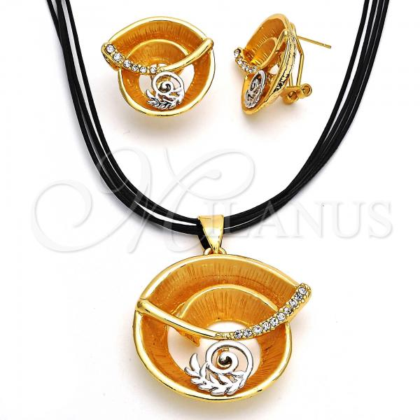 Gold Layered 06.59.0110.1 Necklace and Earring, Spiral and Leaf Design, with White Crystal, Polished Finish, Two Tone