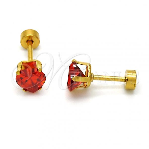 Stainless Steel Stud Earring, Heart Design, with Cubic Zirconia, Golden Tone