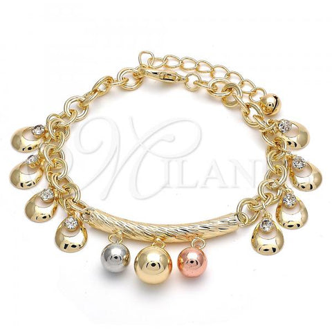 Gold Layered 03.331.0001.08 Charm Bracelet, Ball and Teardrop Design, with White Crystal, Polished Finish, Tri Tone