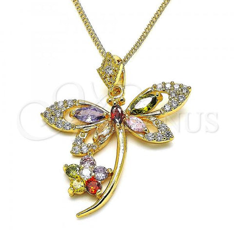 Gold Layered 04.283.0014.2.20 Pendant Necklace, Dragon-Fly and Flower Design, with Multicolor Cubic Zirconia, Polished Finish, Golden Tone