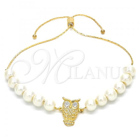 Gold Layered 03.32.0231.07 Adjustable Bolo Bracelet, Owl and Snake  Design, with White Pearl, Yellow Polished Finish, Golden Tone