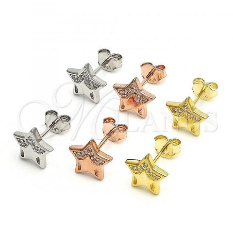 Sterling Silver Stud Earring, Star Design, with Micro Pave, Rhodium Tone