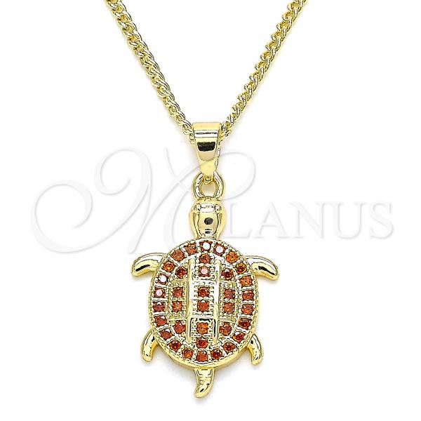 Gold Layered 04.344.0026.1.20 Pendant Necklace, Turtle Design, with Garnet Micro Pave, Polished Finish, Golden Tone