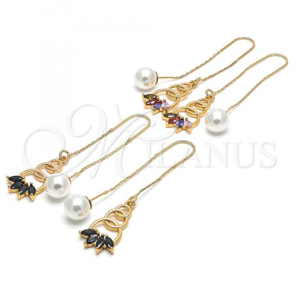 Gold Layered Threader Earring, with Cubic Zirconia, Golden Tone