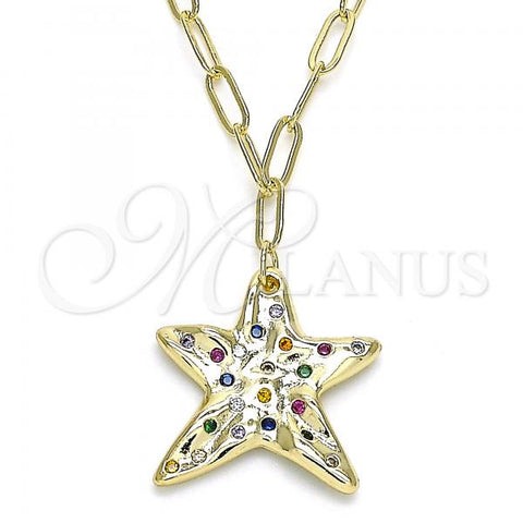 Gold Layered 04.60.0013.18 Pendant Necklace, Star Design, with Multicolor Micro Pave, Polished Finish, Golden Tone
